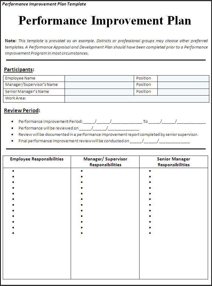 Performance Improvement Plan Template Wordstemplatesorg - format of performance appraisal form