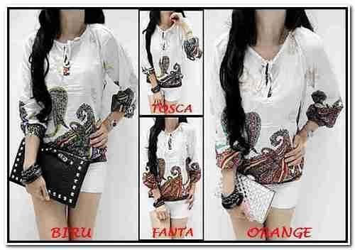 Baju batik wanita Jerrica Top Import Bahan Katun Bangkok SR121