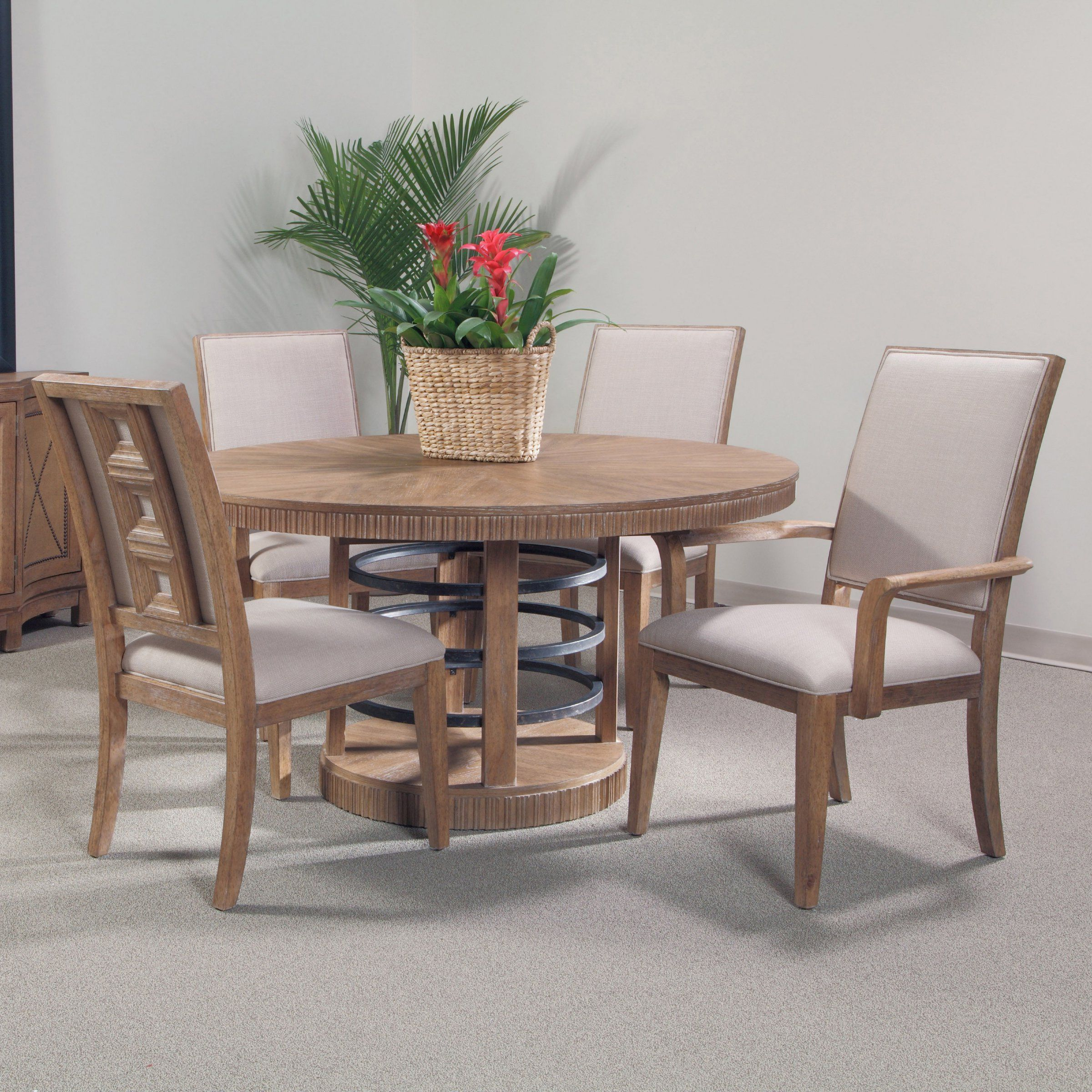 Double crank oval dining table at high fashion home industrial chic - A R T Furniture Ventura Collection Round Dining Set From Hayneedle Com