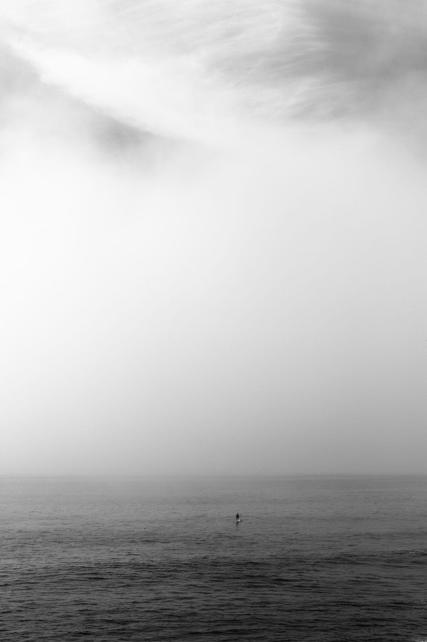 Fog In Santa Cruz Ca White Sky Black And White Minimalist Photography Grey Skies Beach Photography