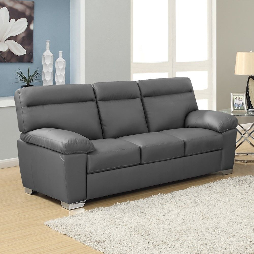 Dark Grey Leather Sofa Check more at