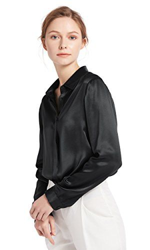 88f4682bba41ef LILYSILK Women's Charmeuse Silk Blouse Long Sleeve Ladies Top Shirt 100%  Pure 22 Momme Silk