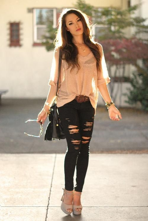 How to Wear Ripped Jeans | Skinny, Clothes and Black ripped jeans
