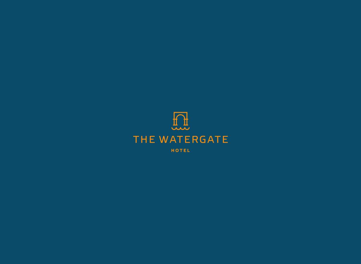 watergate, gates, water logo design, logo, flat logo, line work
