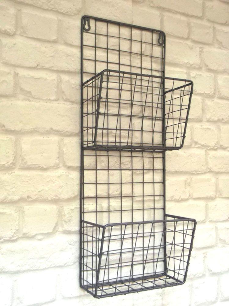 Vintage Industrial Style Metal Wall Shelf Unit Letter Rack Storage Baskets New Metal Wall Shelves Storage Baskets Vintage Industrial Style