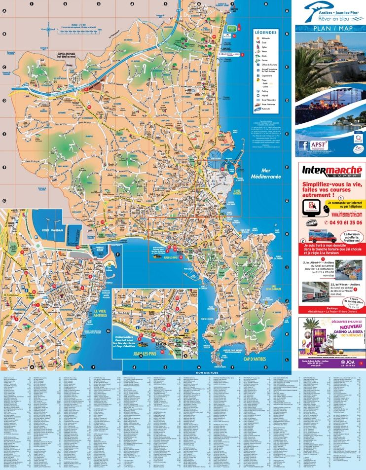 Antibes sightseeing map | A COLD DARK PROMISE | Antibes, Map ...