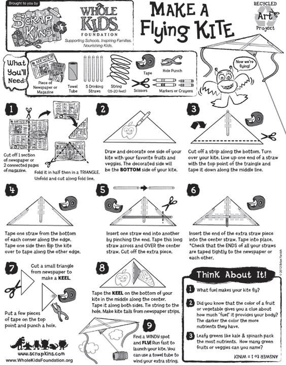 Make a Flying Kite with ScrapKins Hands-On, Recycled