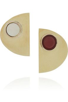 Sleek onyx and shell earrings from Arielle de Pinto @NETAPORTER