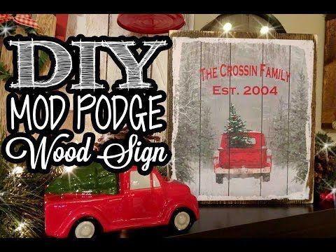 Mod Podge Wood Sign Dollar Tree Gift Bag Youtube Dollar Tree