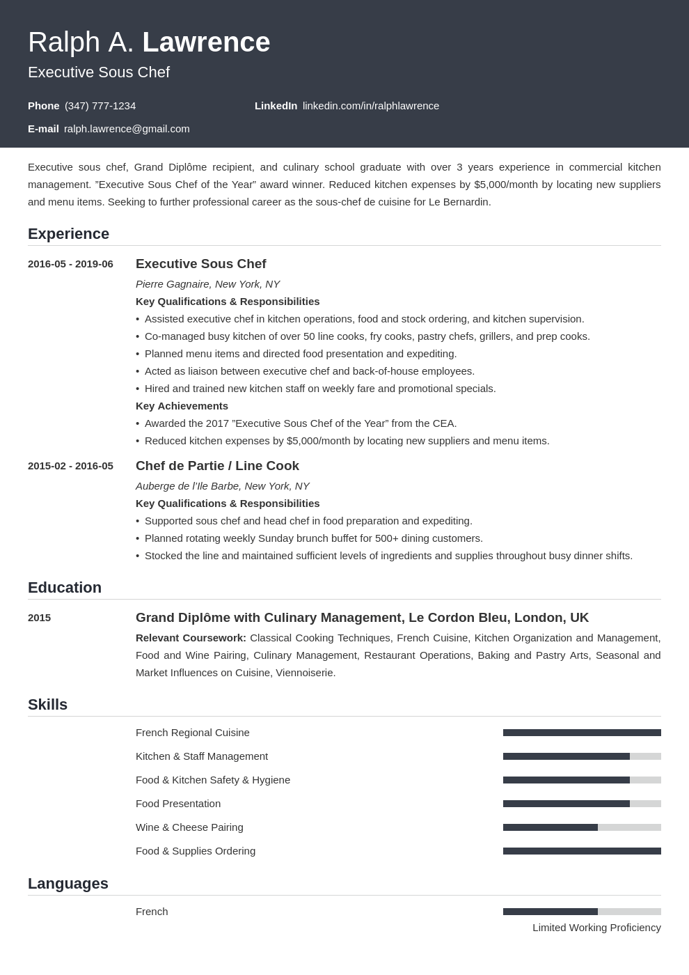 sous chef resume example template influx Resume examples