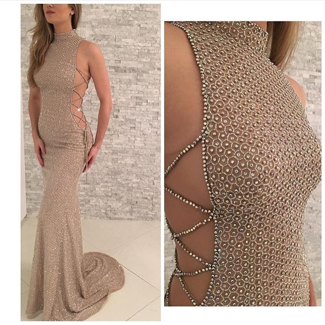 Sexy prom dresses high neck sheathcolumn rhinestone long prom dress