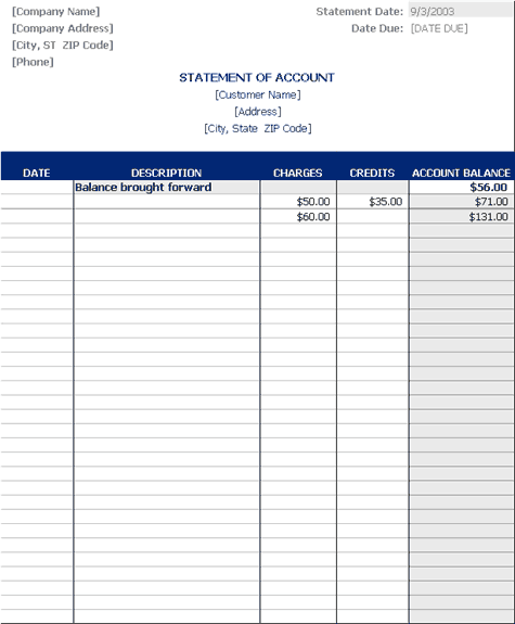 Statement Of Account Templates Accounting Class Statement