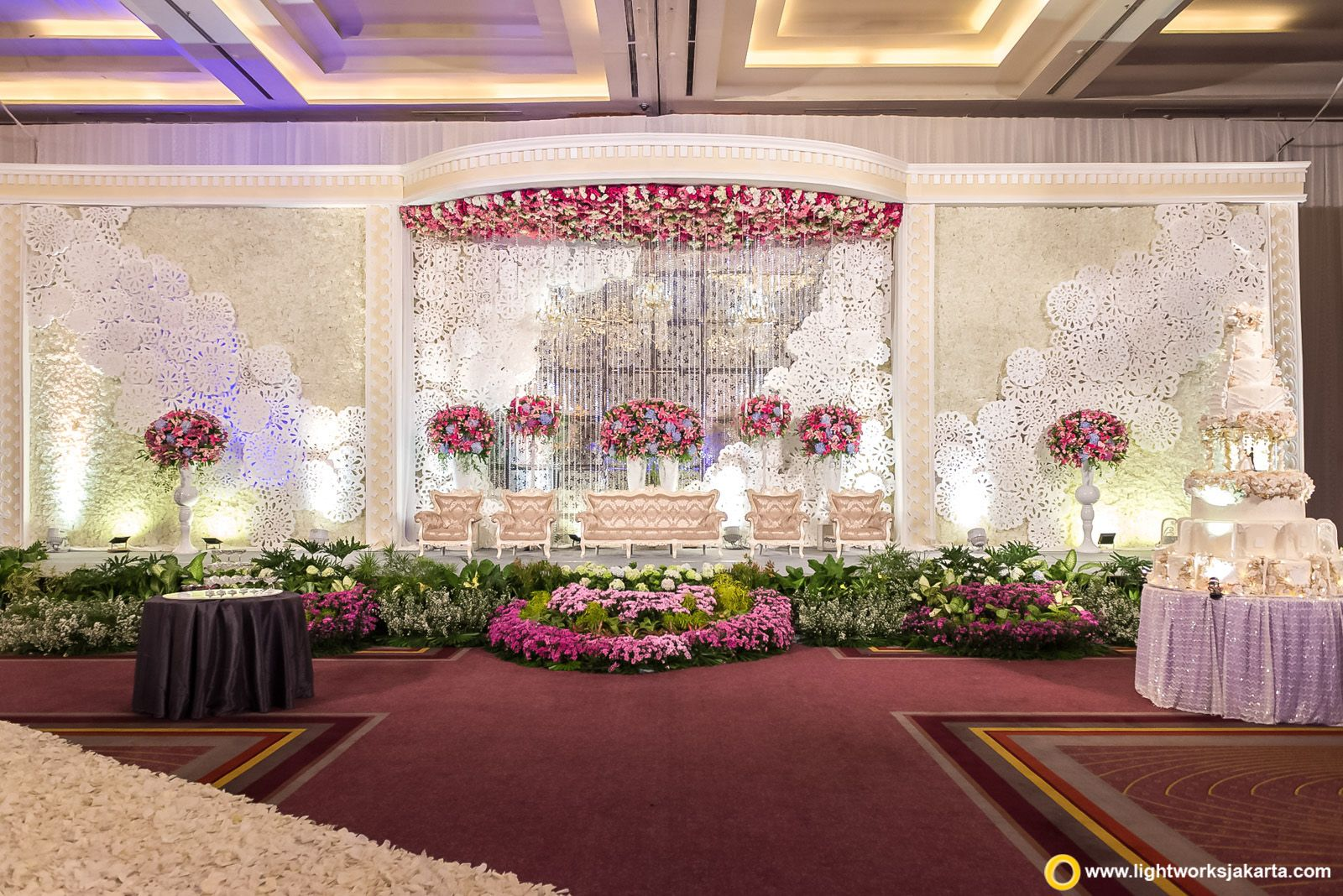 Amazing stage decor floral installations floral walls amazing stage decor floral installations floral walls decorated with cutouts large flower vases pink and white flowers indoor wedding decor ideas junglespirit Gallery