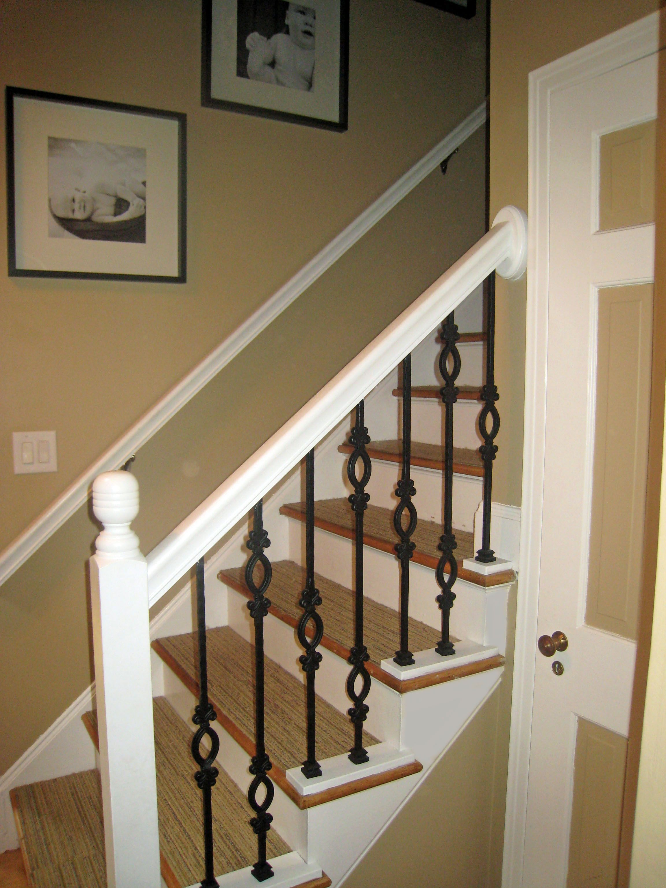 White Railing With Iron Spindles Wrought Iron Banister Banister | Wood Railing With Metal Spindles | Metal Stair | Decorative | Different Kind Wood | Wood Handrail | Modern