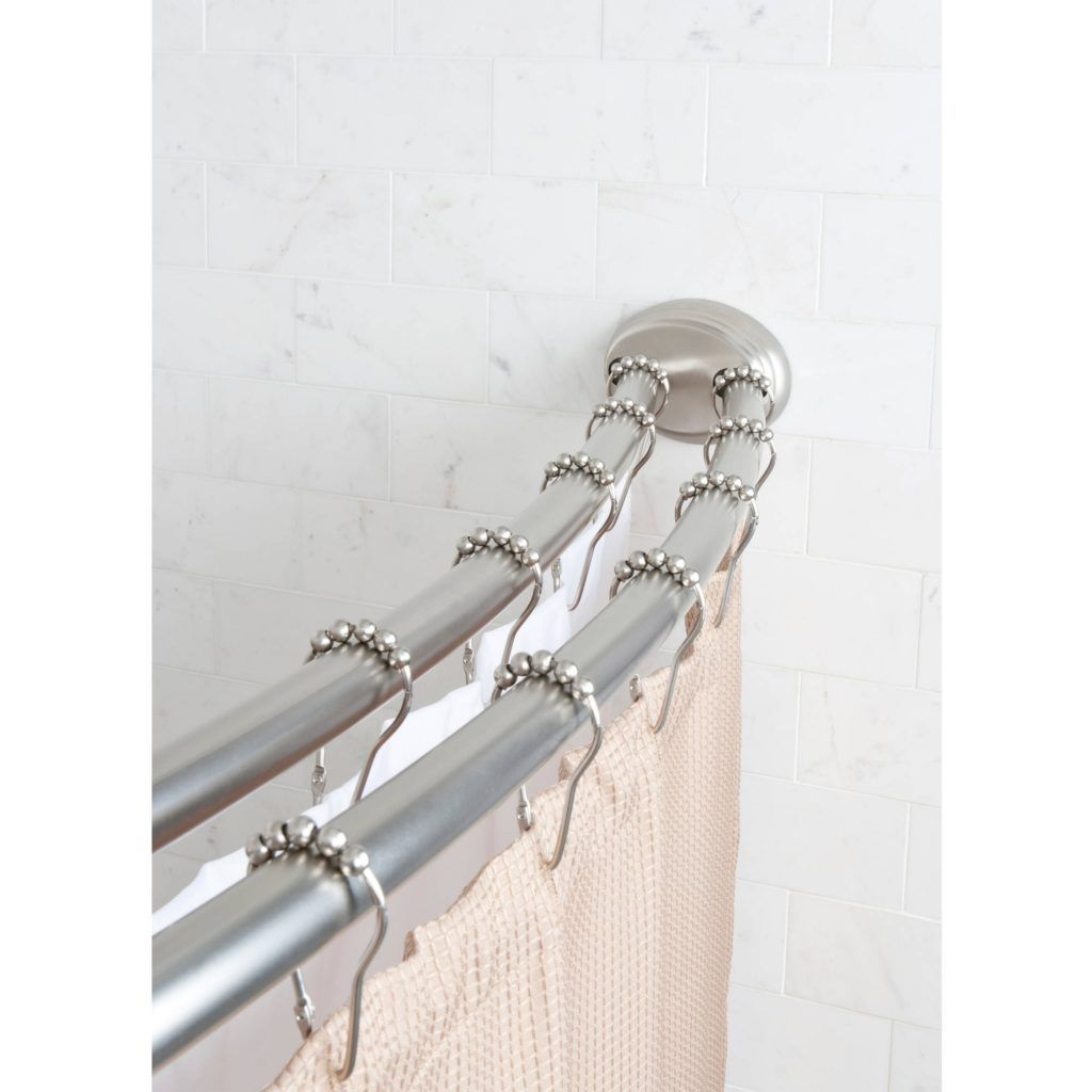 Brushed Nickel Double Curtain Rod Smart Rod Double Curved Tension Shower Curtain Rod Brushed Nickel