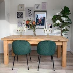 Photo of Heather Esszimmerstuhl, Samt Gepolstert, Wald Grün Beinfarbe: Messing Bein Cult Furniture