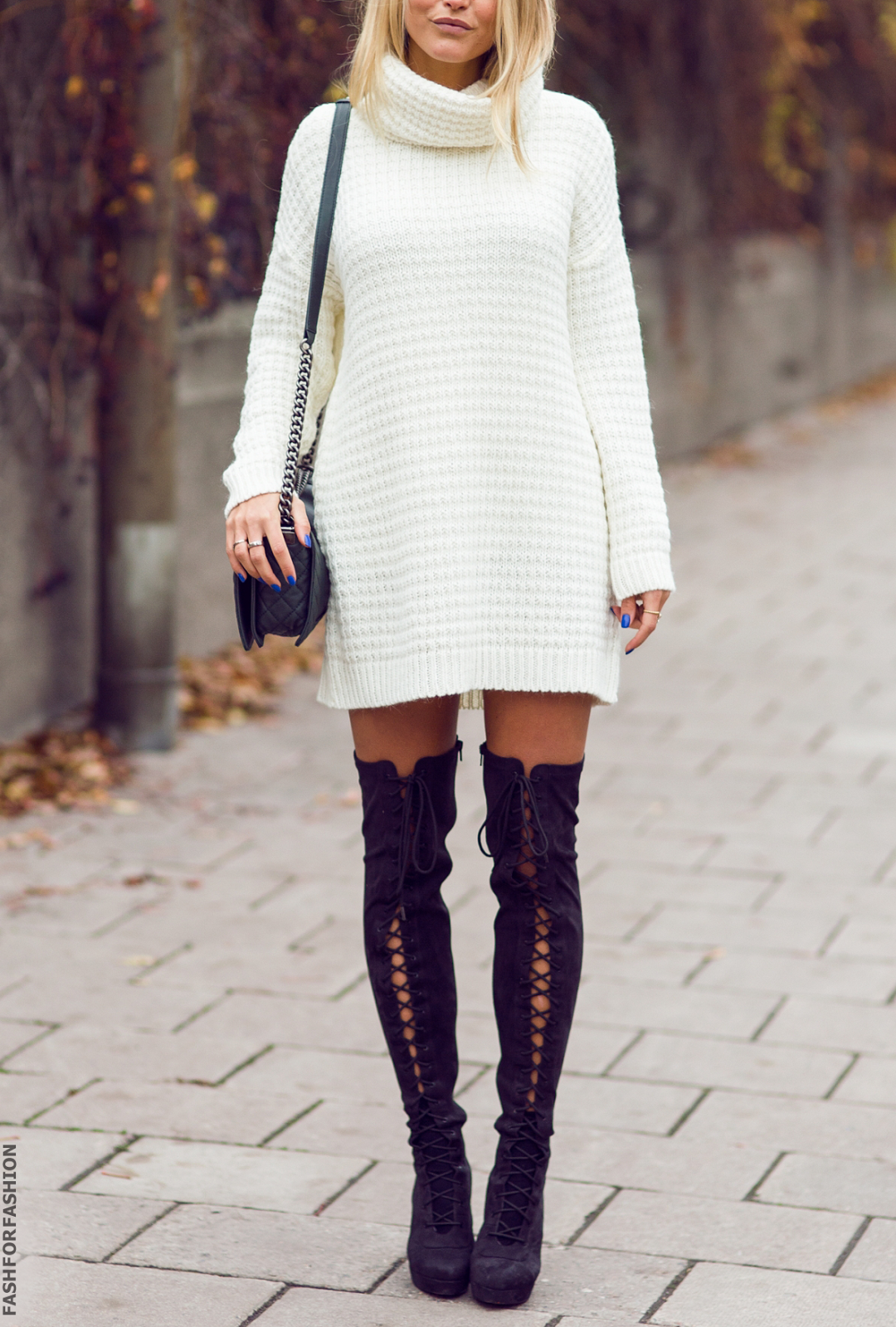 02900bf6ce8 White Sweater Dress and Over the Knee Black Boots