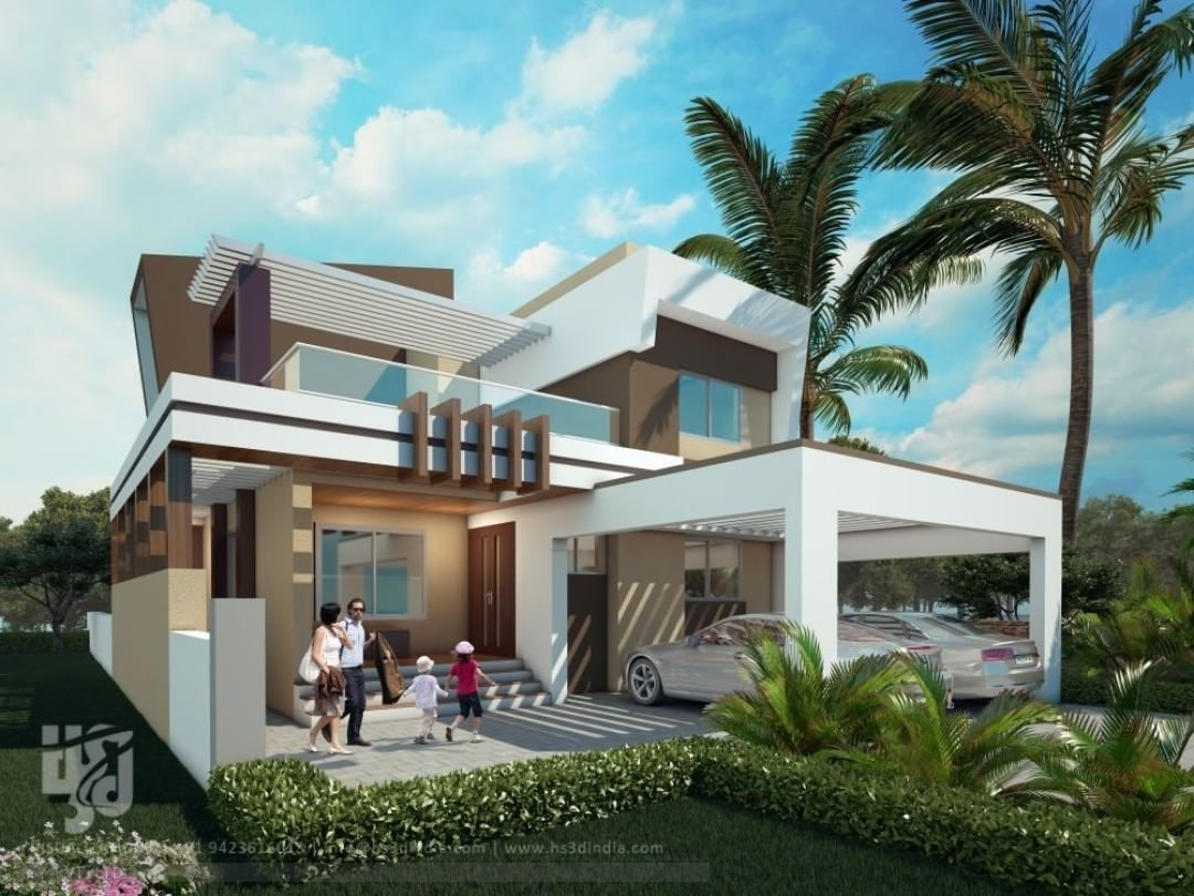 Modern bungalow exterior 3drender day view by www - Best exterior design of house in india ...