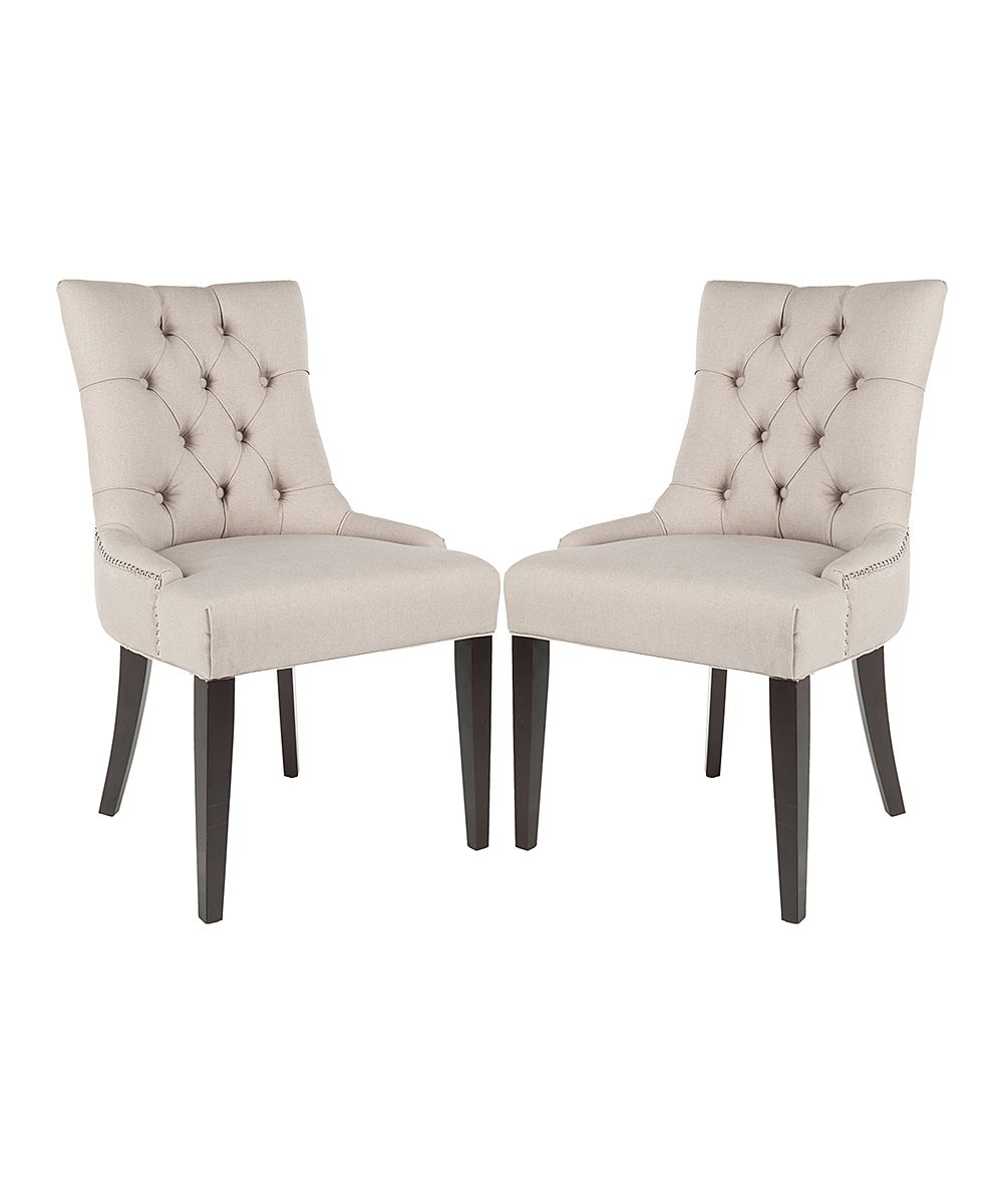 Esszimmermöbel Set Taupe Tufted Maura Side Chair Set Of Two Products