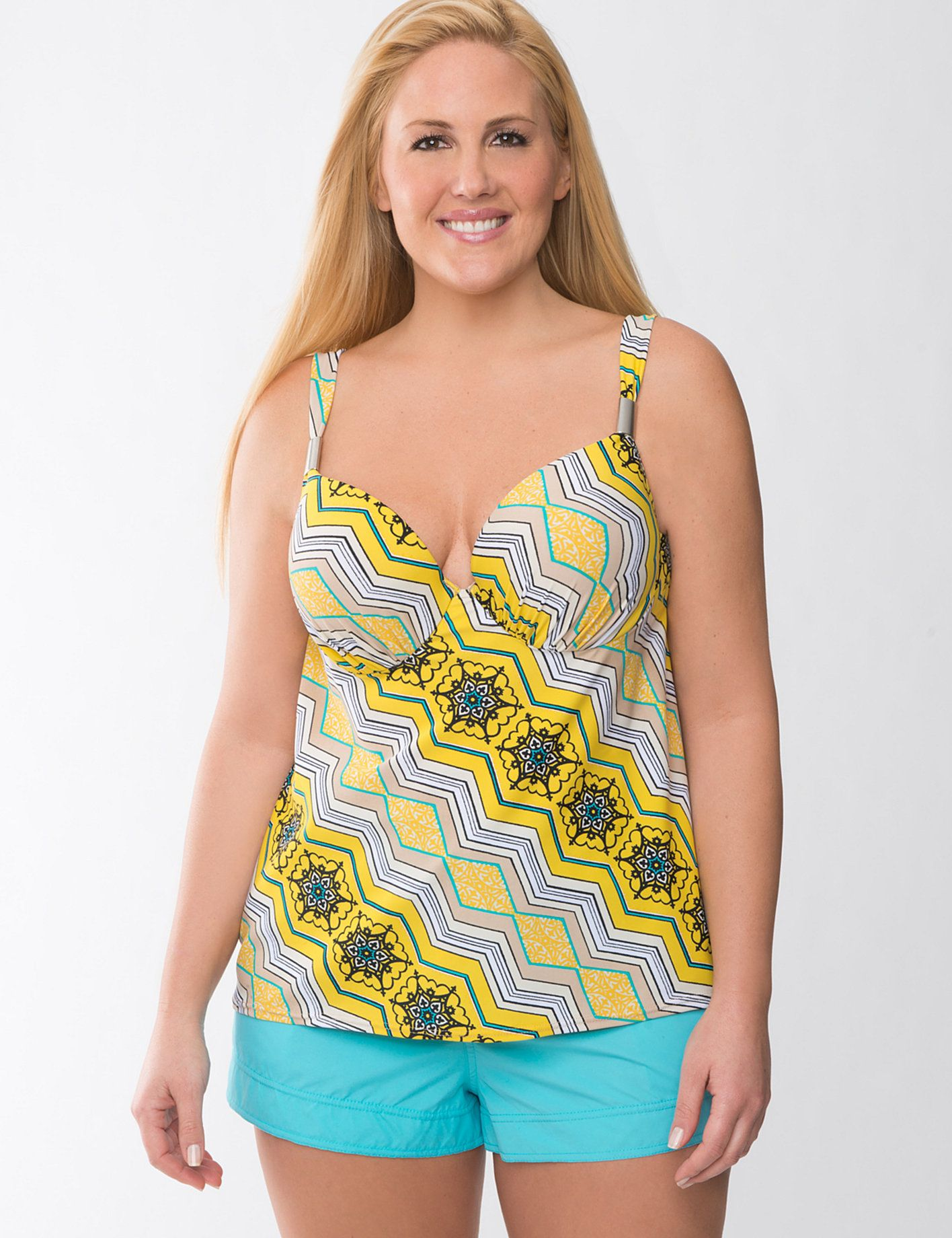 pluge plus size swimwear & swim tank tops for women | lane bryant