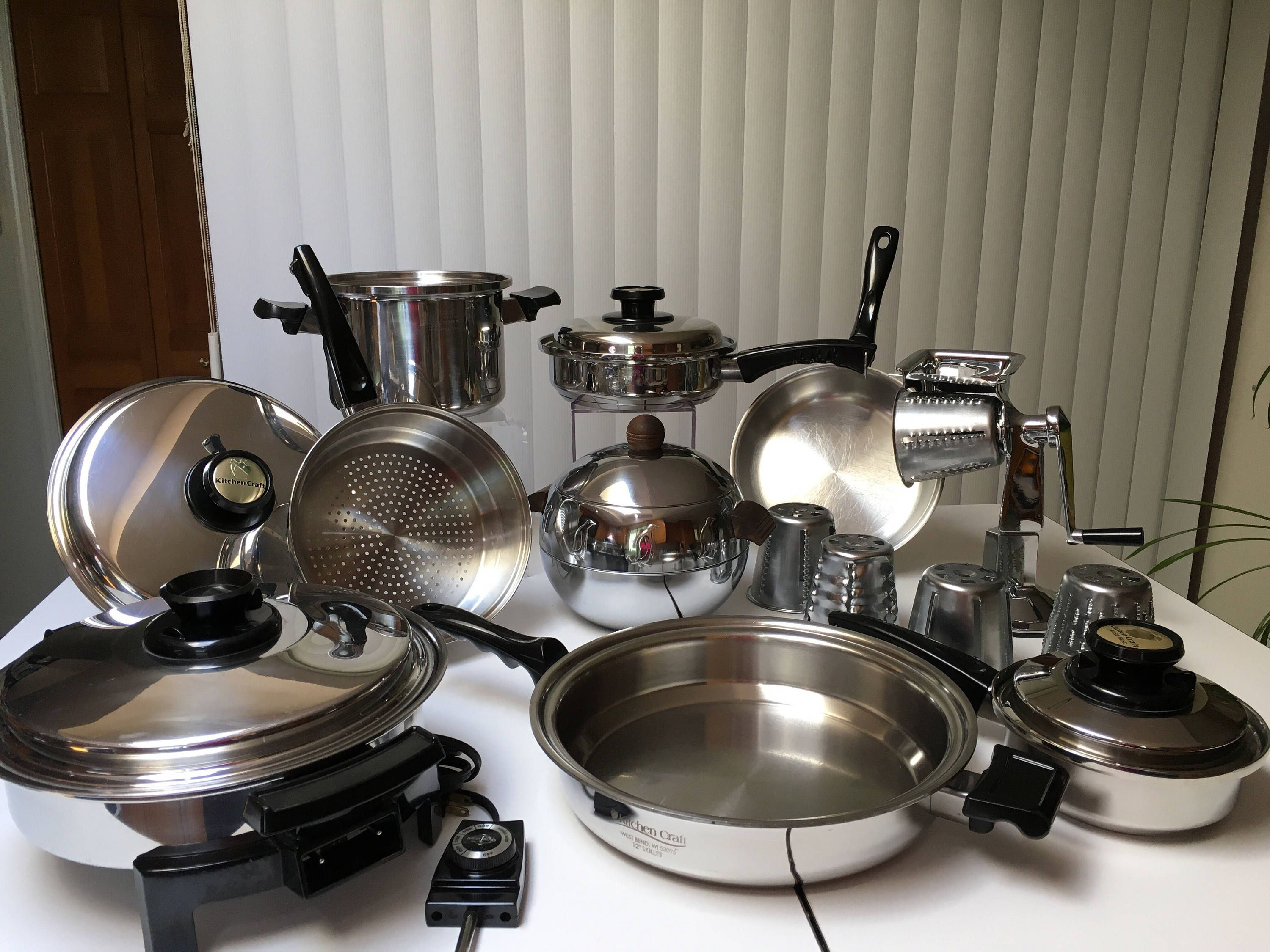 18pc Kitchen Craft Waterless Cookware Set Usa Stainless Steel W