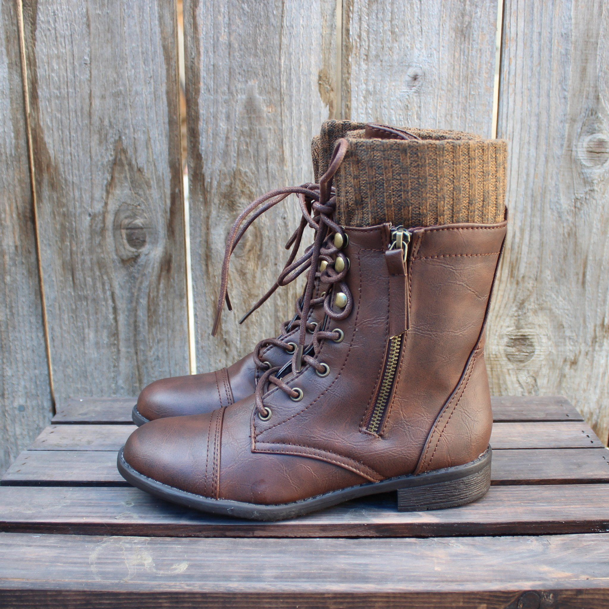Final Sale The Brown Combat Sweater Boots Fall Outfits