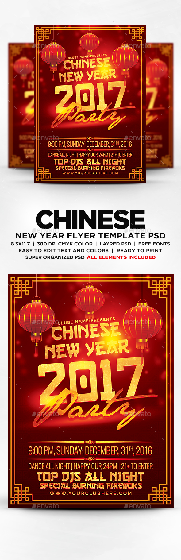 Chinese New Year Party Flyer Template Psd  New Year Party Flyer