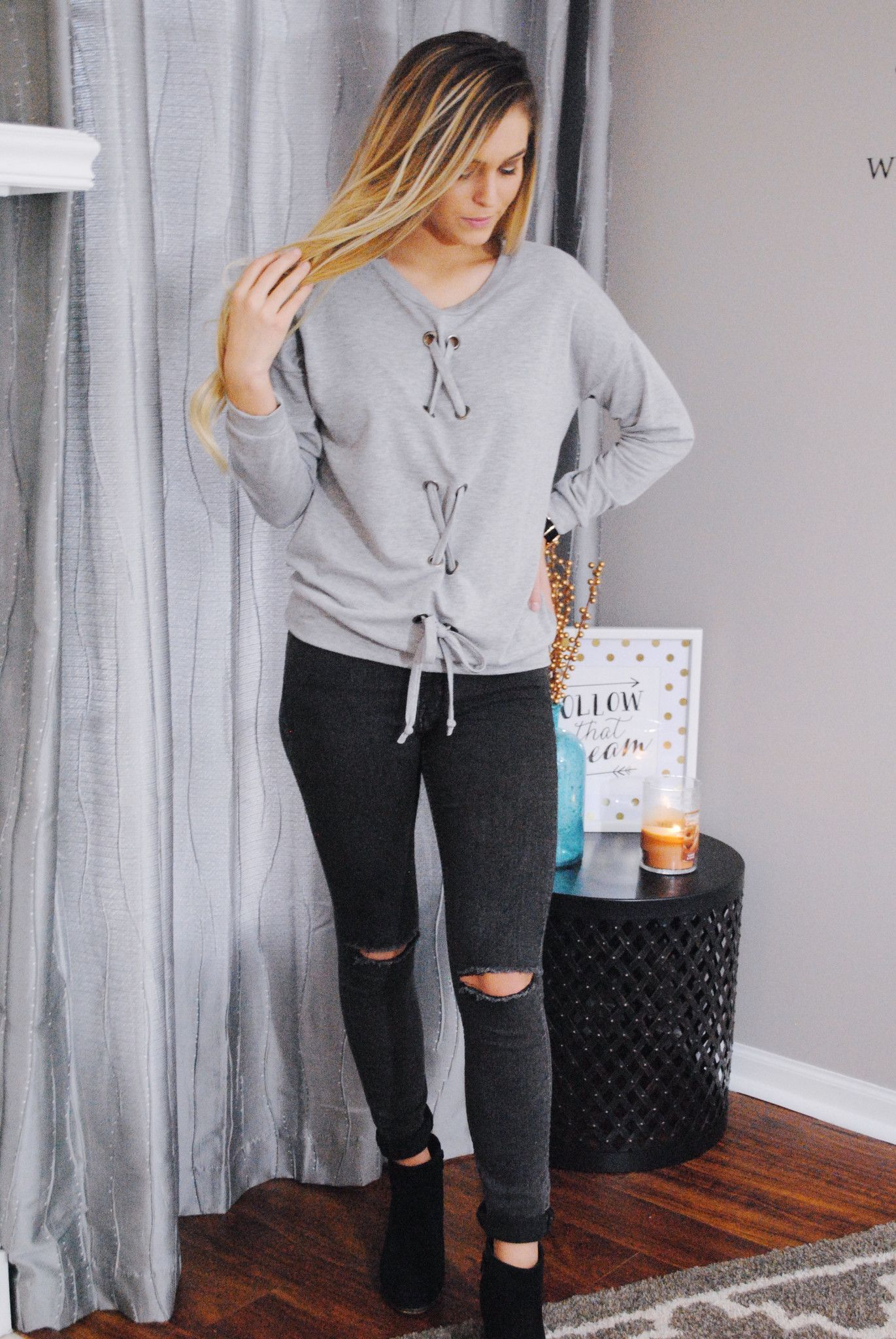 Go With The Flow Lace-Up Top
