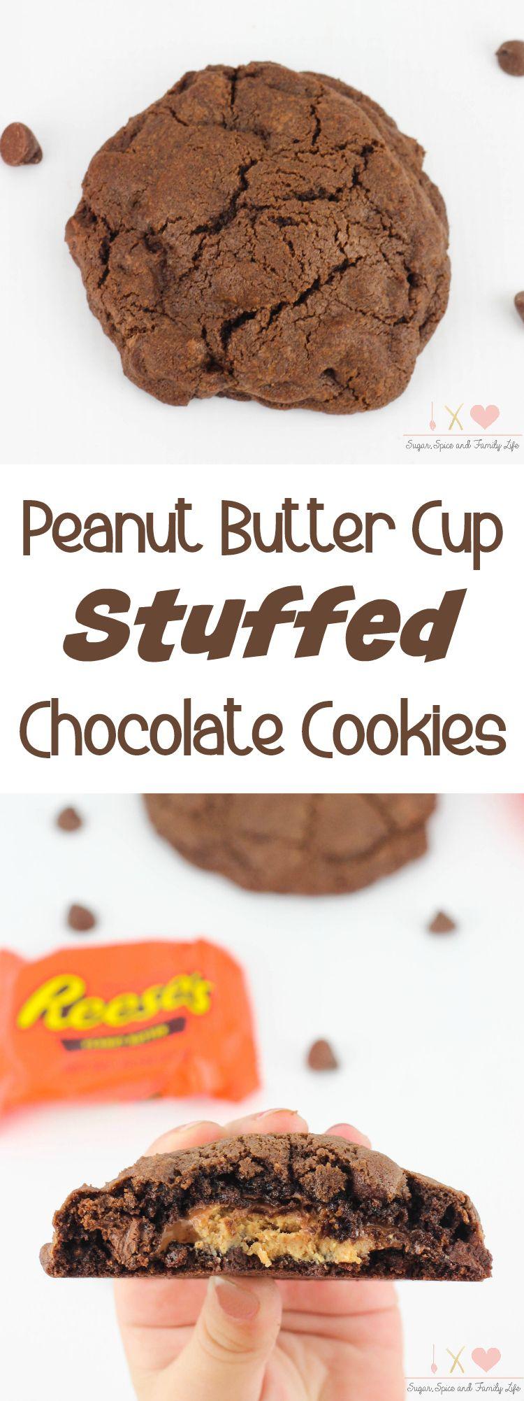 Peanut butter cup stuffed chocolate cookies recipe sugar