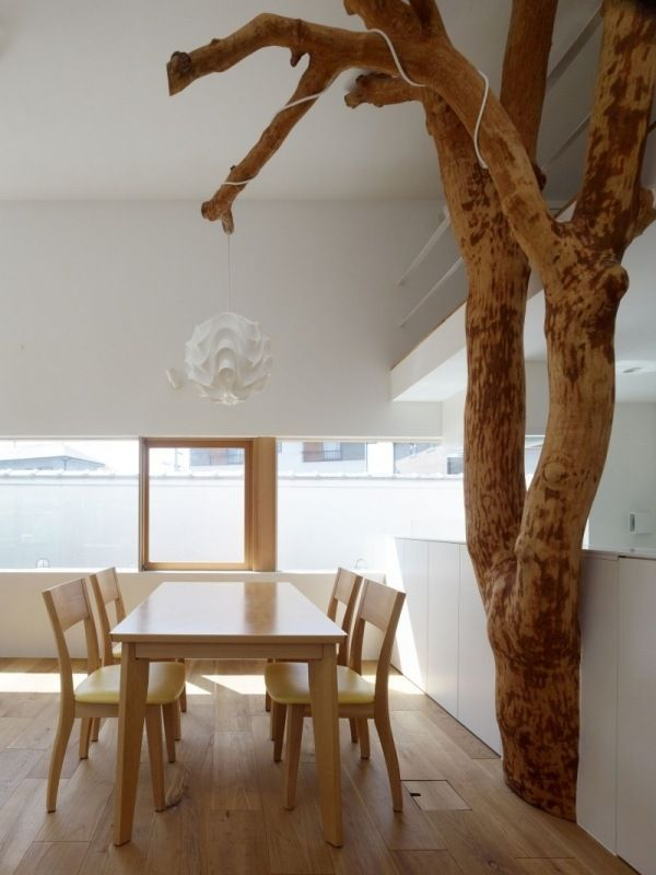 Haus Im Garten Baum Aufgebaut Minimalistisches Design