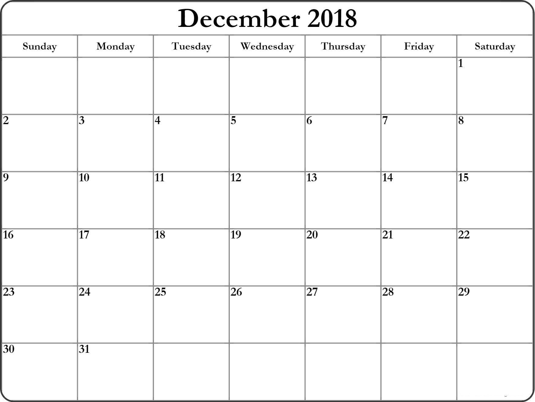 editable calendar december 2018 excel