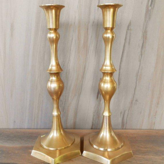 Large vintage brass candles, set of 2 candlesticks,/11 8
