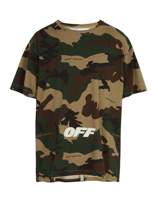 bea7eed7fc6b Off-White Logo-embroidered camouflage cotton T-shirt