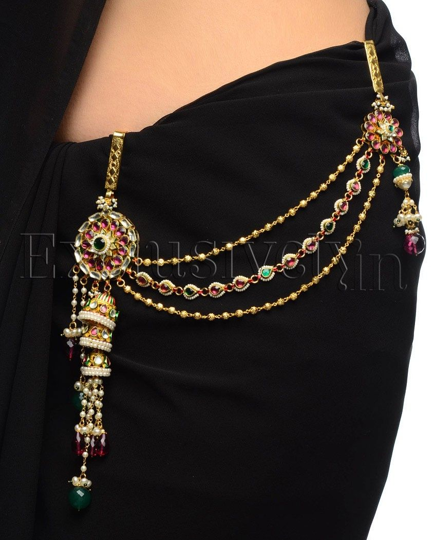"""Beautiful kandora, (waist charm). Not only this adds to the charm of an ethnic attire, but if it is heavy enough (<100gms) & the hook is 3"""" long & 1"""" wide (approx) & it is inserted about 1.5 to 2"""" apart from the center line of the body, the hook activates acupressure points related to the throat, and acts to keep it clear of phlegm, so that the voice remains clear, & becomes easier to clear if required. It's a boon for women who need to clear their throat frequently."""