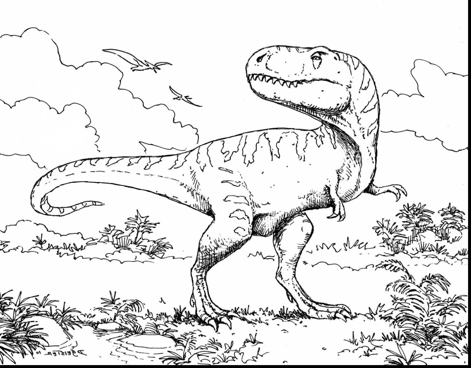 Scary Dinosaur Coloring Pages Concept