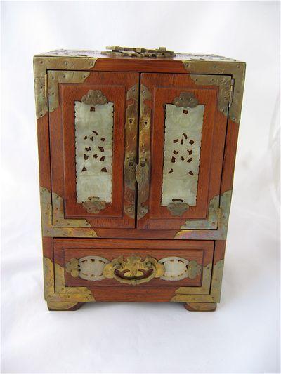 Jade Jewelry Box : jewelry, 1900s, Chinese, Redwood, Jewelry, Carved, Inlay, Decorative, Boxes,, Oriental, Decor