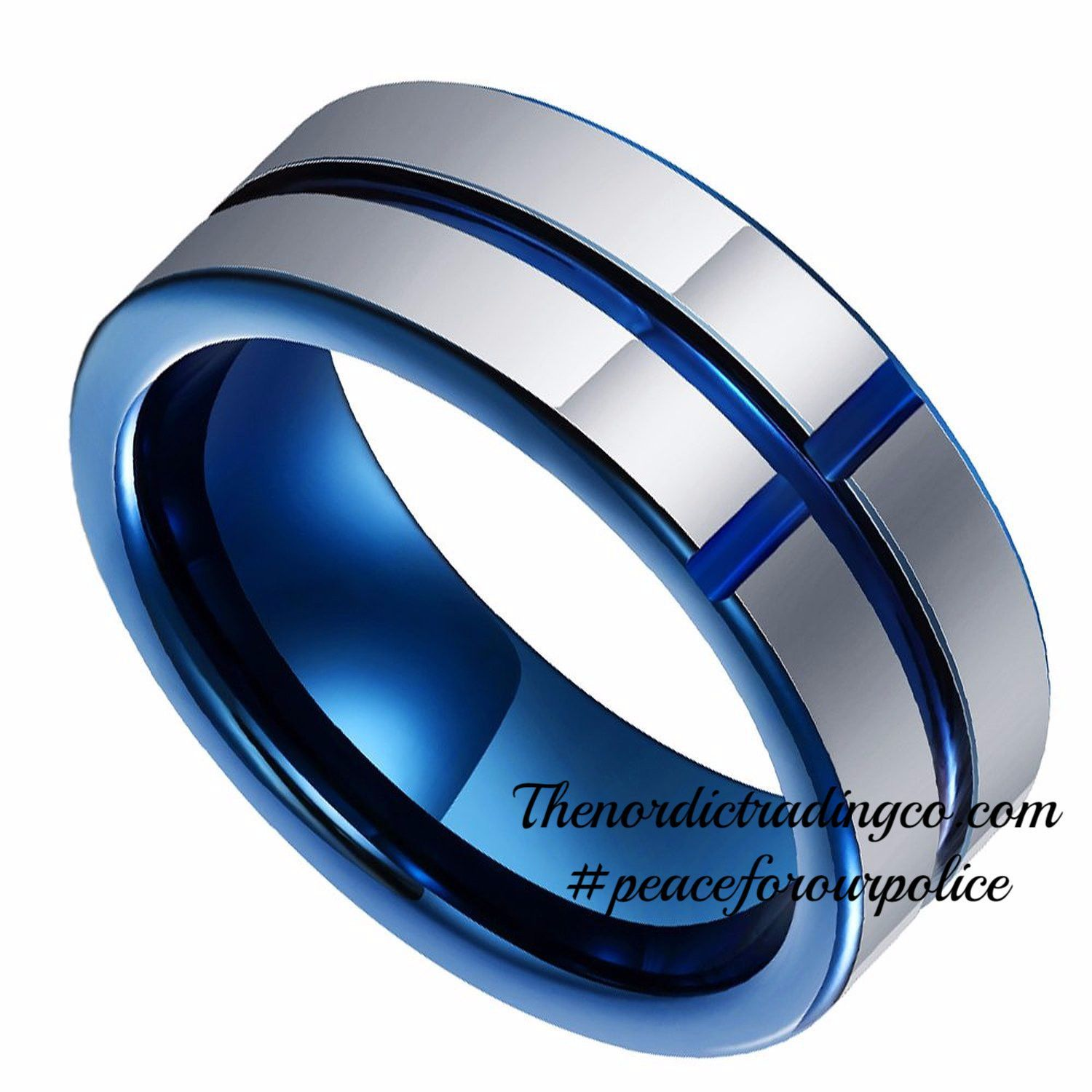 Tungsten Carbide Band Thin Blue Line Cross Inlay Police Officer Wedding Ring 8mm BlueLivesMatter Support Honor Sz 8 13 Mens Jewelry Accessories