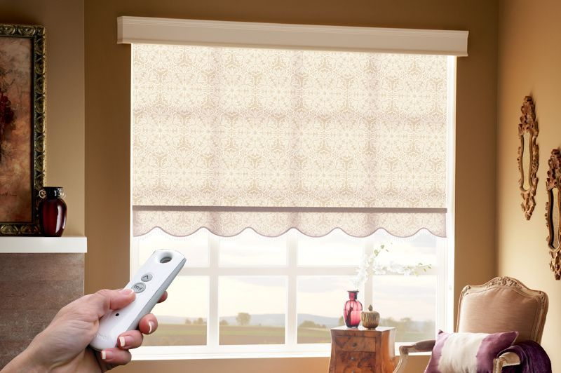 Scalloped Roller Shades Are Programmed To Automatically Open And Close Uglyverticalblinds Vertical Blinds Curtains Vertical Window Blinds Living Room Blinds