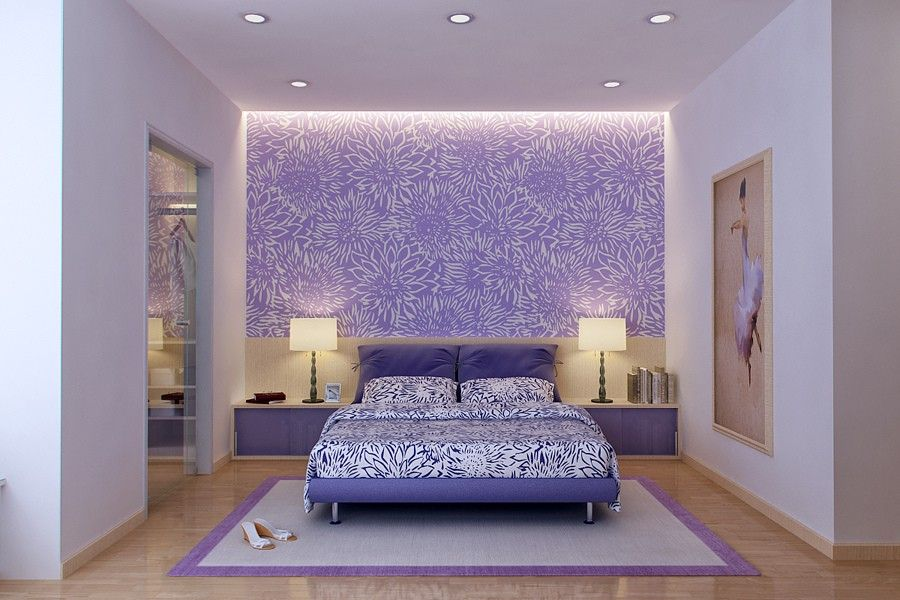 Fancy Purple Bedroom Interior Design By Vu Khoi