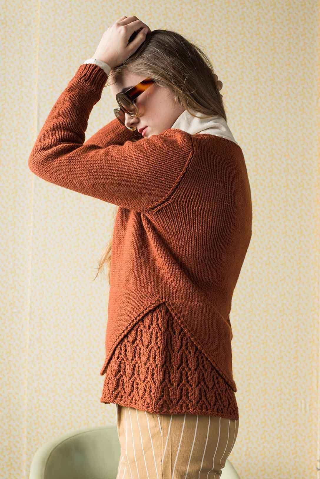 b0b43ed82de378 The Beatrice Sweater by Lana Jois begins with the lace inset panel that is  knit in when the body is joined in the round