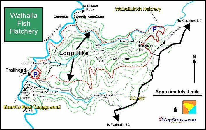 Image Of Hiking Map Of Walhalla Fish Hatchery Loop Sumter - Sc waterfalls map