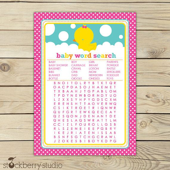 Girl Rubber Ducky Baby Shower Word Search Game - Pink Baby Shower