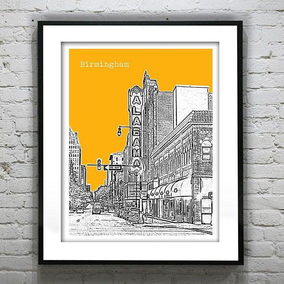 University Flats Birmingham Al: Birmingham Alabama Poster Art Print Skyline Theater Item