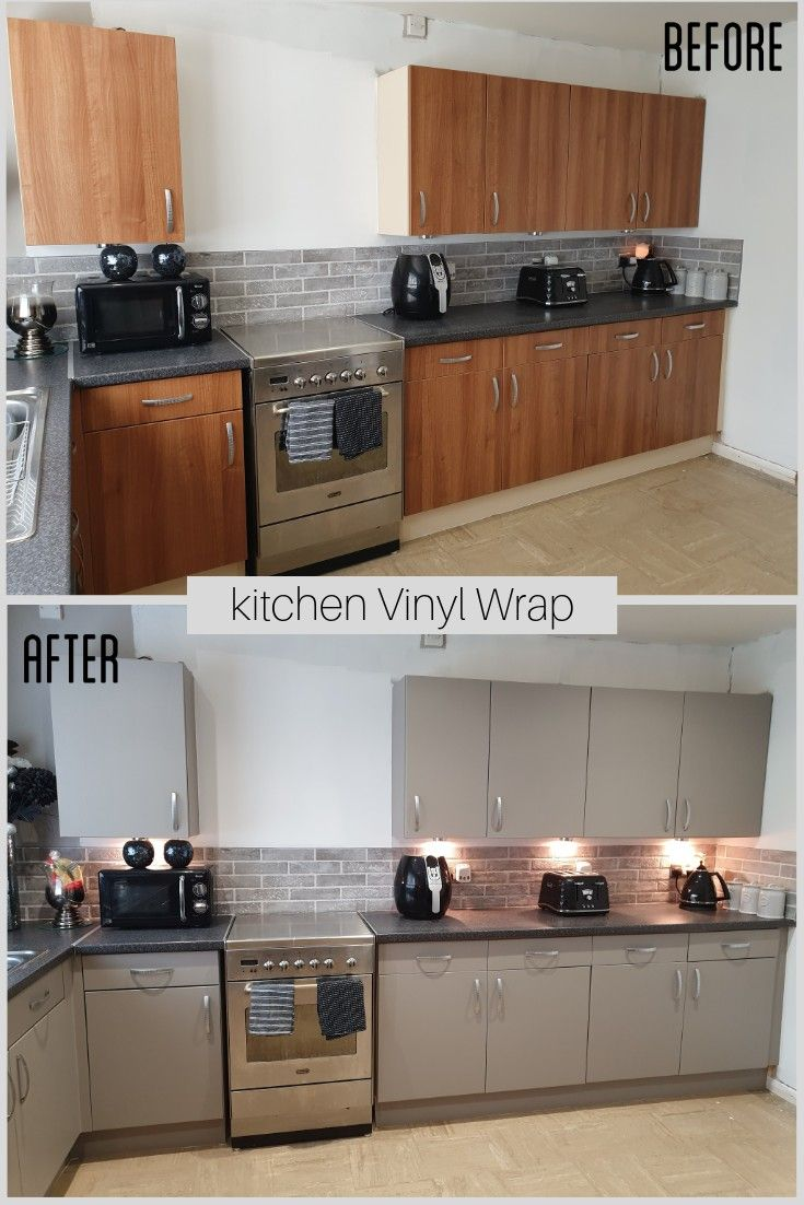 Before After Kitchen Vinyl Wrap Kitchen Vinyl Kitchen Wrap Custom Kitchen Remodel