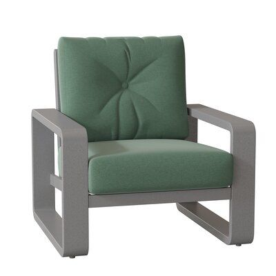Woodard Vale Patio Chair Cushion Color: Impact Beam Yellow, Frame Color: Pewter Finish