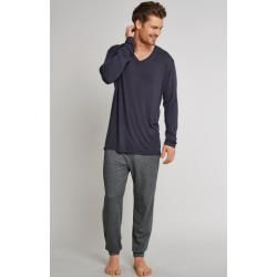 Shirt langarm V-Ausschnitt dunkelgrau - Mix & Relax Cotton Modal 98