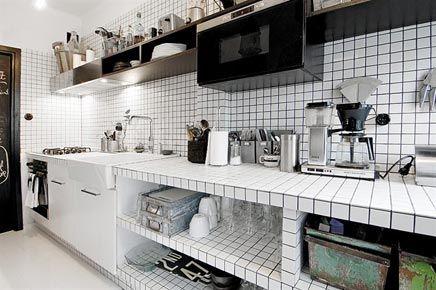 Keuken Open Tegels : Zwart witte semi open keuken bijbouw ideetjes pinterest open