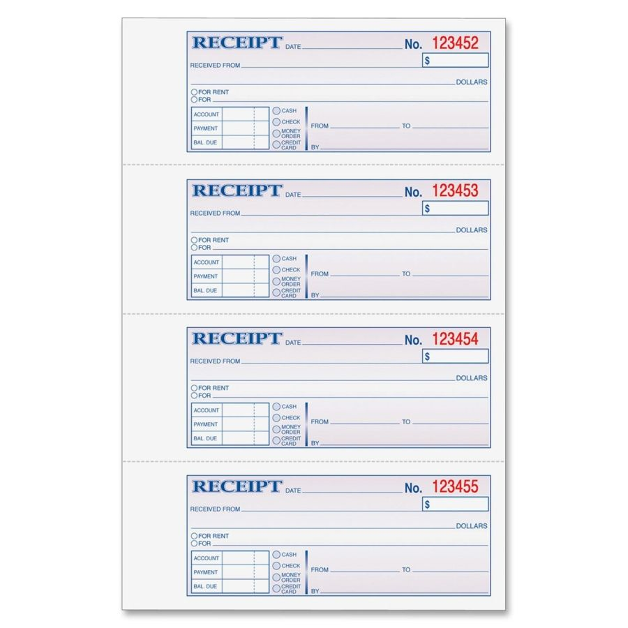Money Receipts Rent Receipts Pics  Adams Moneyrent Receipt Book 200 Sheets .