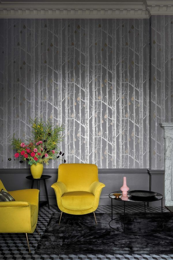 Woods And Pears By Cole Son Grey Wallpaper Wallpaper Direct Cole And Son Wallpaper Black Wallpaper Living Room Wallpaper Living Room