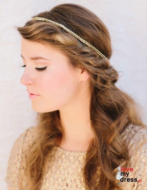 Rozpuszczone Włosy Do ślubu Z Opaską Fryzury ślubne I Makijaże